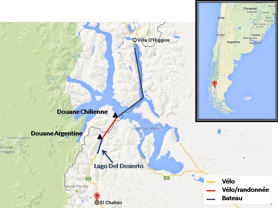 Carte Passage de frontière Chili/Argentine