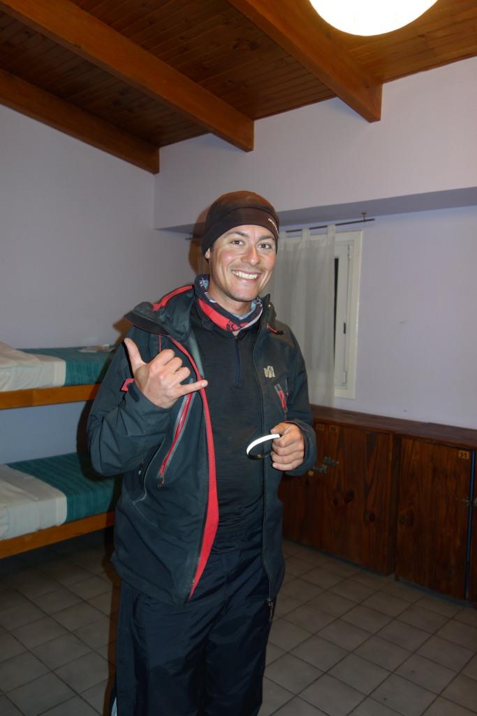 Arrivée de Benoit après 900 km de vélo, Ushuaia